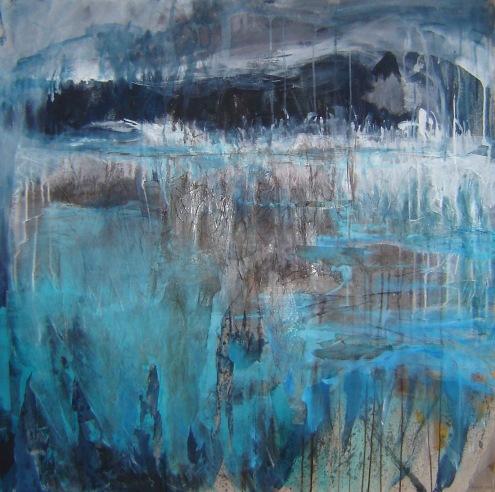 Sous la pluie Technique mixte sur toile 100 x 100 cm
