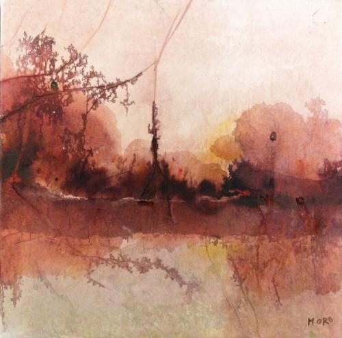 30 x 30 cm Encres et collage sur toile