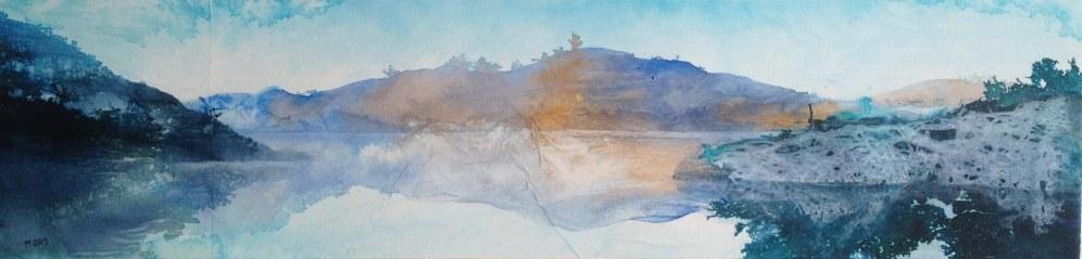 Aube sur le lac 20 x 80 cm