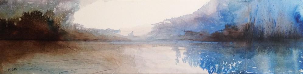 Nuages sur le lac 20 x 80 cm